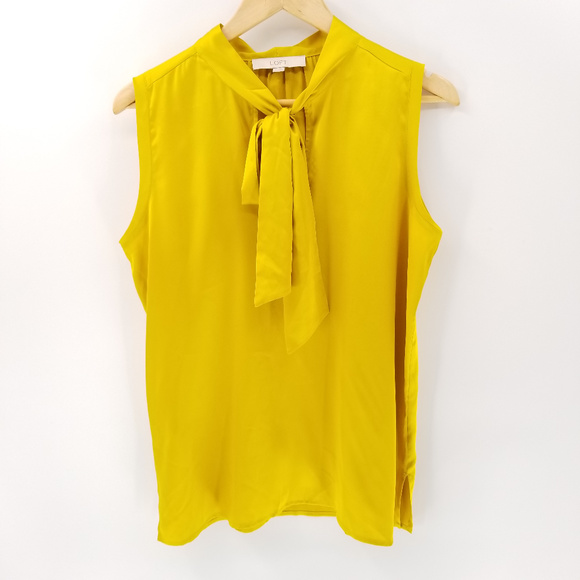 Gold Satin Sleeveless Blouse with Pussycat Bow Tie